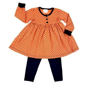 Hanna Andersson Halloween Orange Black Dress 90 3T
